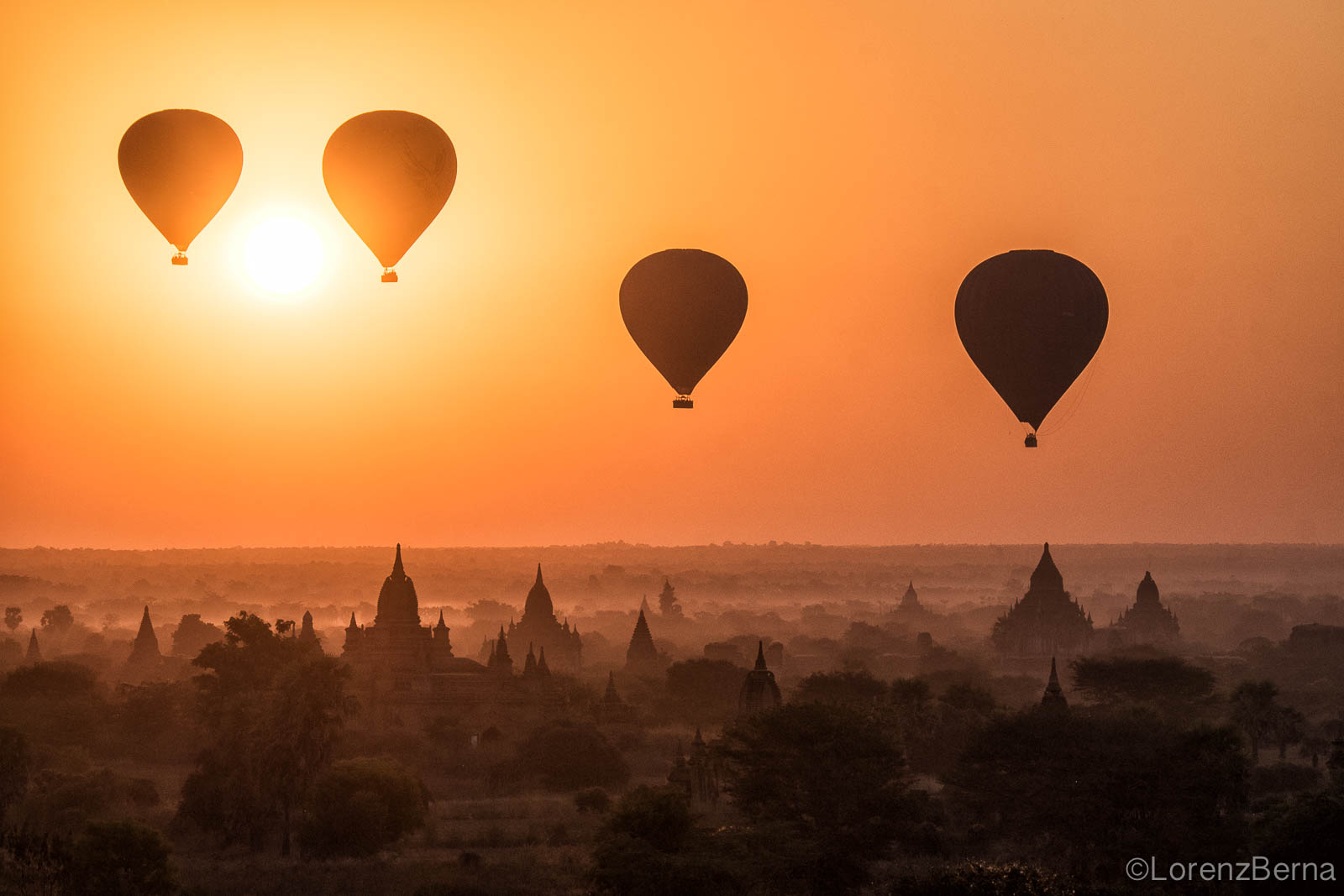 Hot air baloons rising over Bagan - Myanmar travel photography by Lorenz Berna