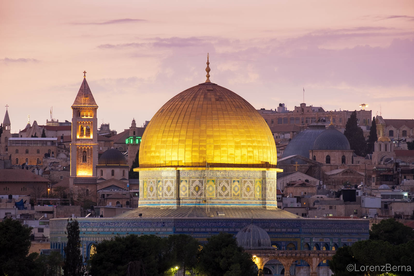 The Dome of the Rock at Twilight, Jerusalem - Israel Travel Photography by Lorenz Berna