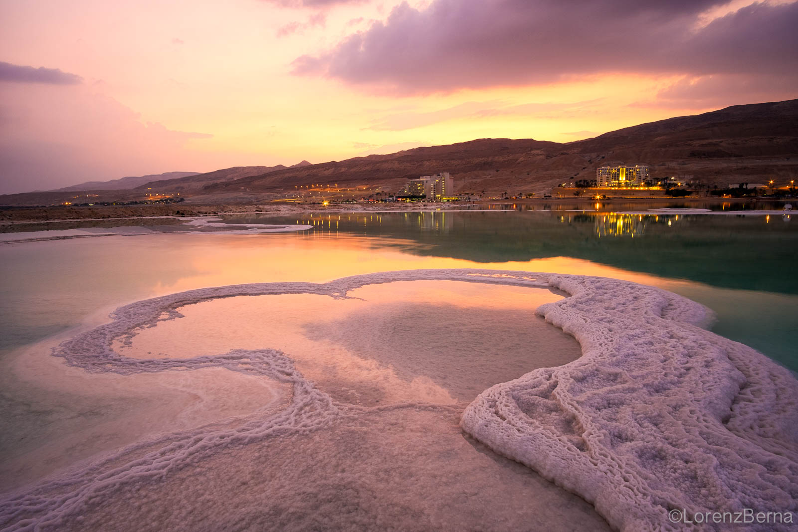 Sunset on the dead sea at Ein Bokek, Israel